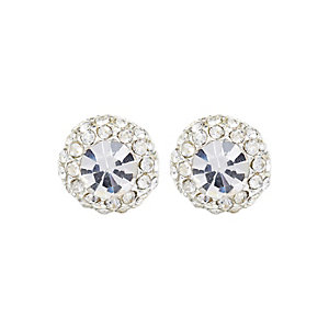 Silver tone mega rhinestone stud earrings