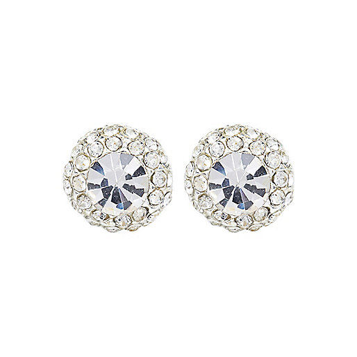 Silver tone diamanté stud earrings