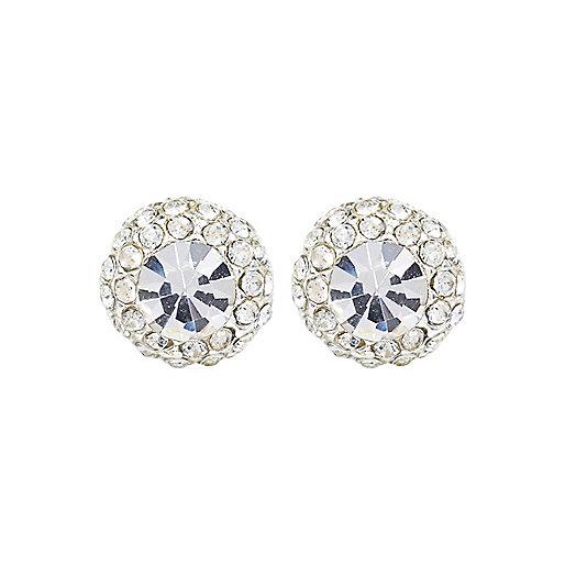 Silver tone diamanté stud earrings