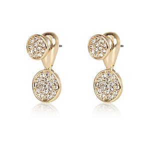 Gold tone pave disc front and back earrings