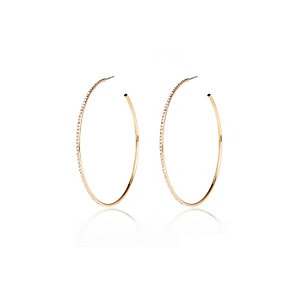 Gold tone skinny diamante hoops
