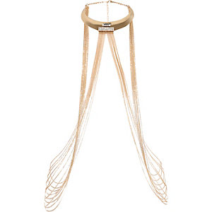 Gold tone embellished disco harness