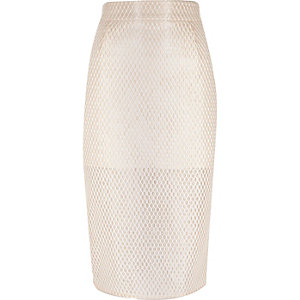 Light pink lace pencil skirt
