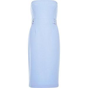 Light blue bandeau buckle dress