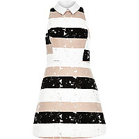 Pink lace stripe A-line dress