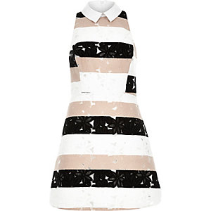 Pink lace stripe A-line dress