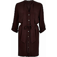 Dark red V-neck pussybow shirt dress