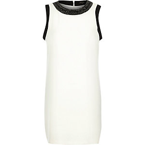Cream crepe embellished neck shift dress