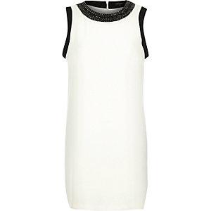 Cream crepe embellished neck shift dress
