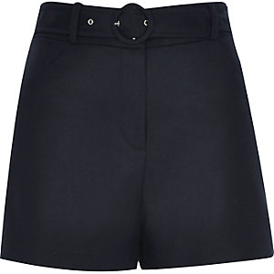 Navy blue belted high waisted shorts