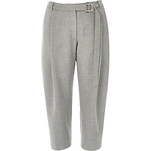 Grey utility D-ring peg leg trousers