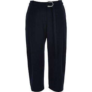 Navy utility D-ring peg leg trousers