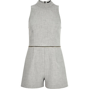 Grey zip waist high neck playsuit