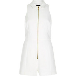 White smart collared zip through playsuit