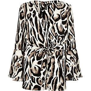 Brown animal print bell sleeve playsuit