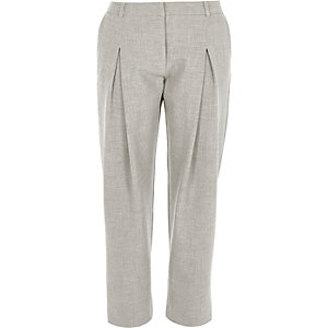 Light grey slim peg leg trousers
