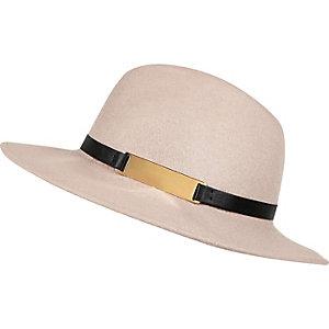 Light beige fedora hat