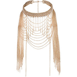 Gold tone draped choker necklace