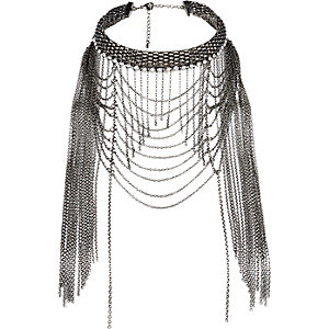 Black draped chain choker necklace