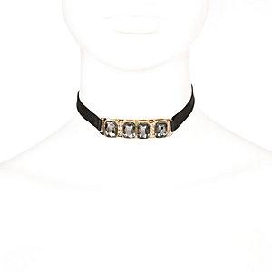 Black gem embellished choker necklace