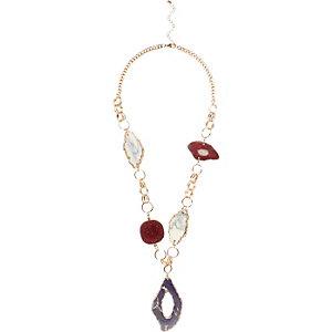 Purple glam stone slice necklace