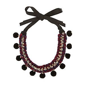 Red pom pom embellished necklace