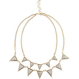 Gold tone triangle layer necklace