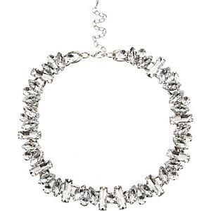 Silver tone multi gem short necklace