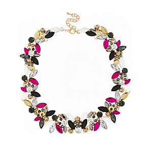 Pink multi stone short necklace