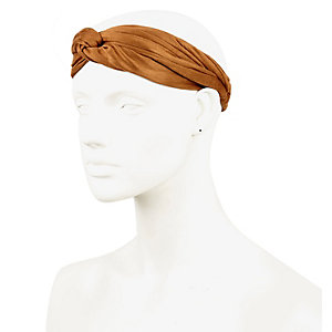 Brown faux suede turban-style head band