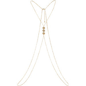 Gold tone disc front body harness