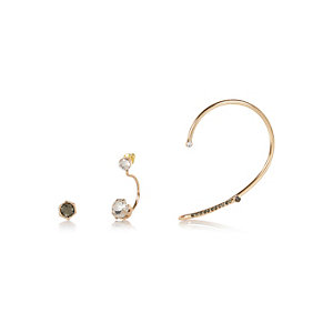Gold tone asymmetric ear cuffs pack