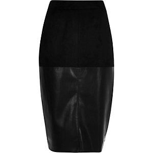 Black faux-suede pencil skirt