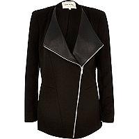 Black asymmetric front jacket