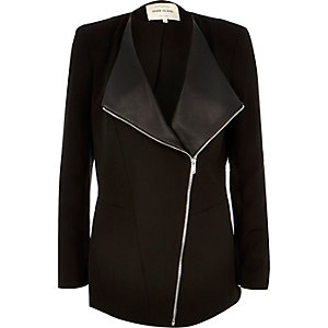 Black asymmetric front jacket