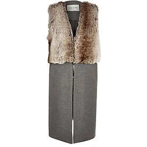 Grey half fur sleeveless jacket
