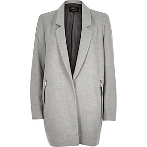 Grey smart tailored wool-blend coat