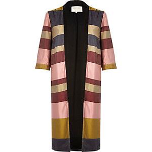 Navy stripe longline kimono