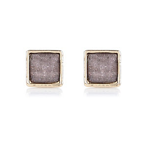 Grey sparkle stud earrings