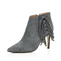 Grey suede fringed heeled boots