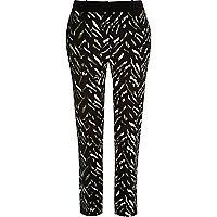 Khaki zebra print skinny trousers