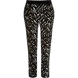 Khaki zebra print skinny pants