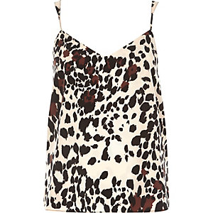 Pink animal print V-neck cami