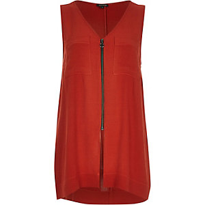 Rust red zip front vest