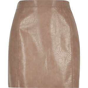 Light brown mini A-line skirt