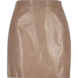 Light brown mini A-line skirt