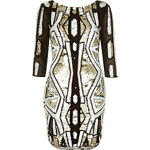 Khaki sequin embellished bodycon dress