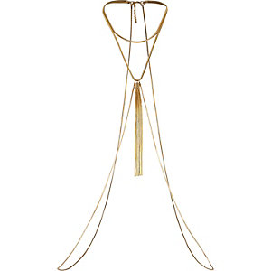 Gold tone chain drape body harness