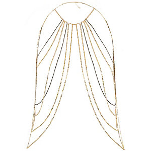 Gold tone chain harness