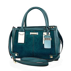 Blue faux-suede mini hinge tote handbag